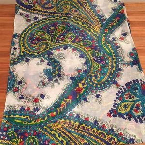 Colorful Talbots scarf, cotton and silk, NWOT